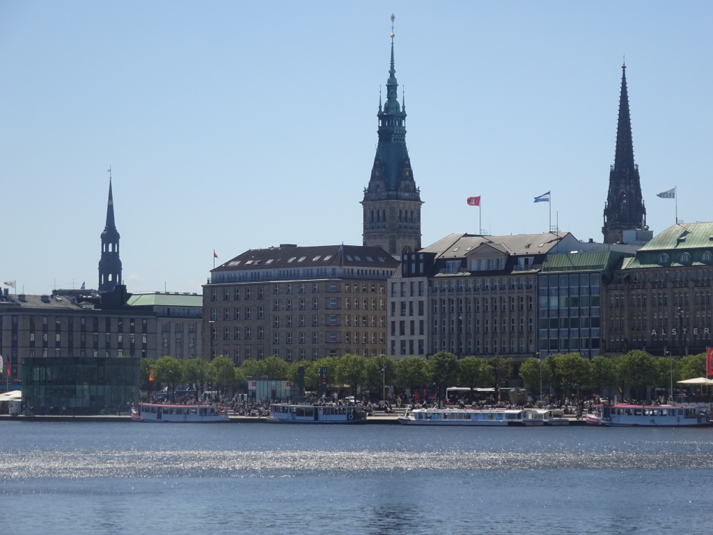 City center skyline from Binnenalster Lake.