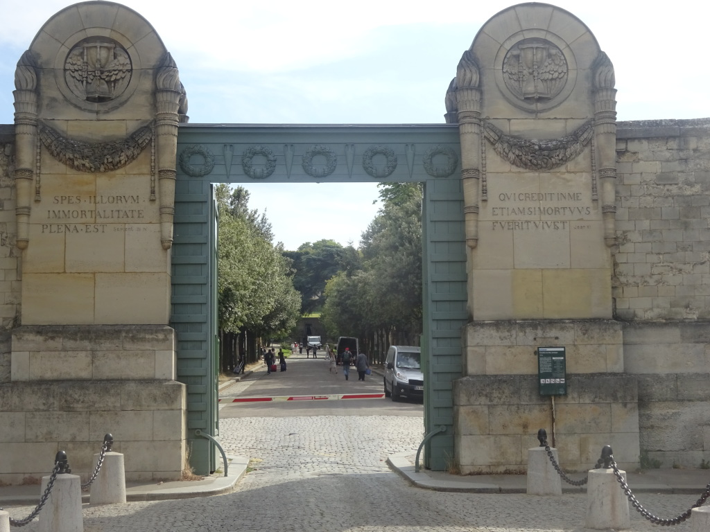 The main entrance to Père Lachaise Cemetery.