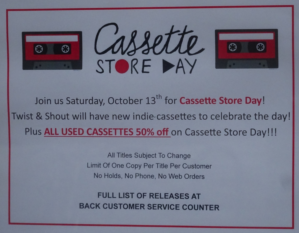 Ad for Cassette Store Day at Twist and Shout Records in Denver.